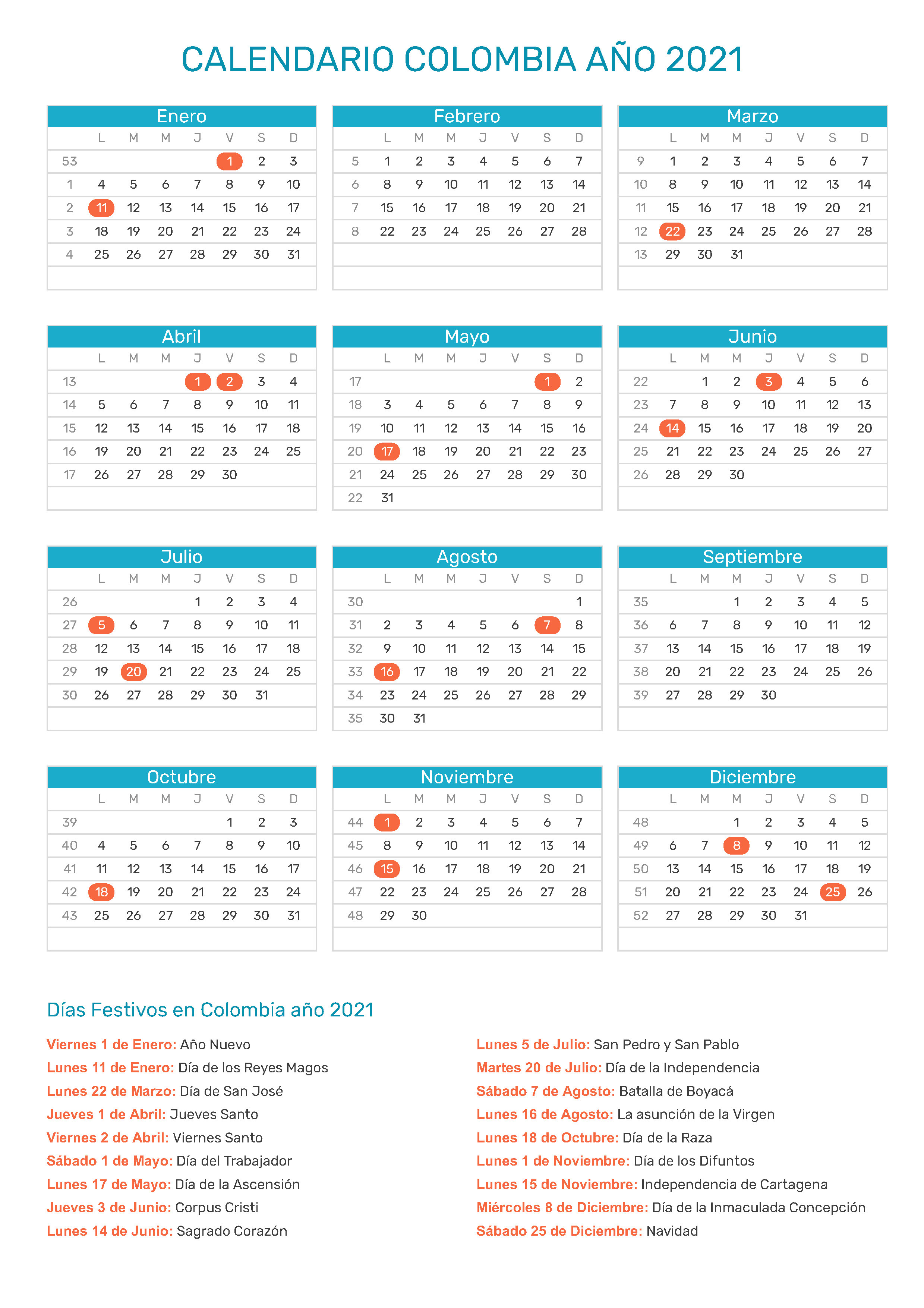 Calendario Colombia 2020.Index Of Print Calendario Normal 2021