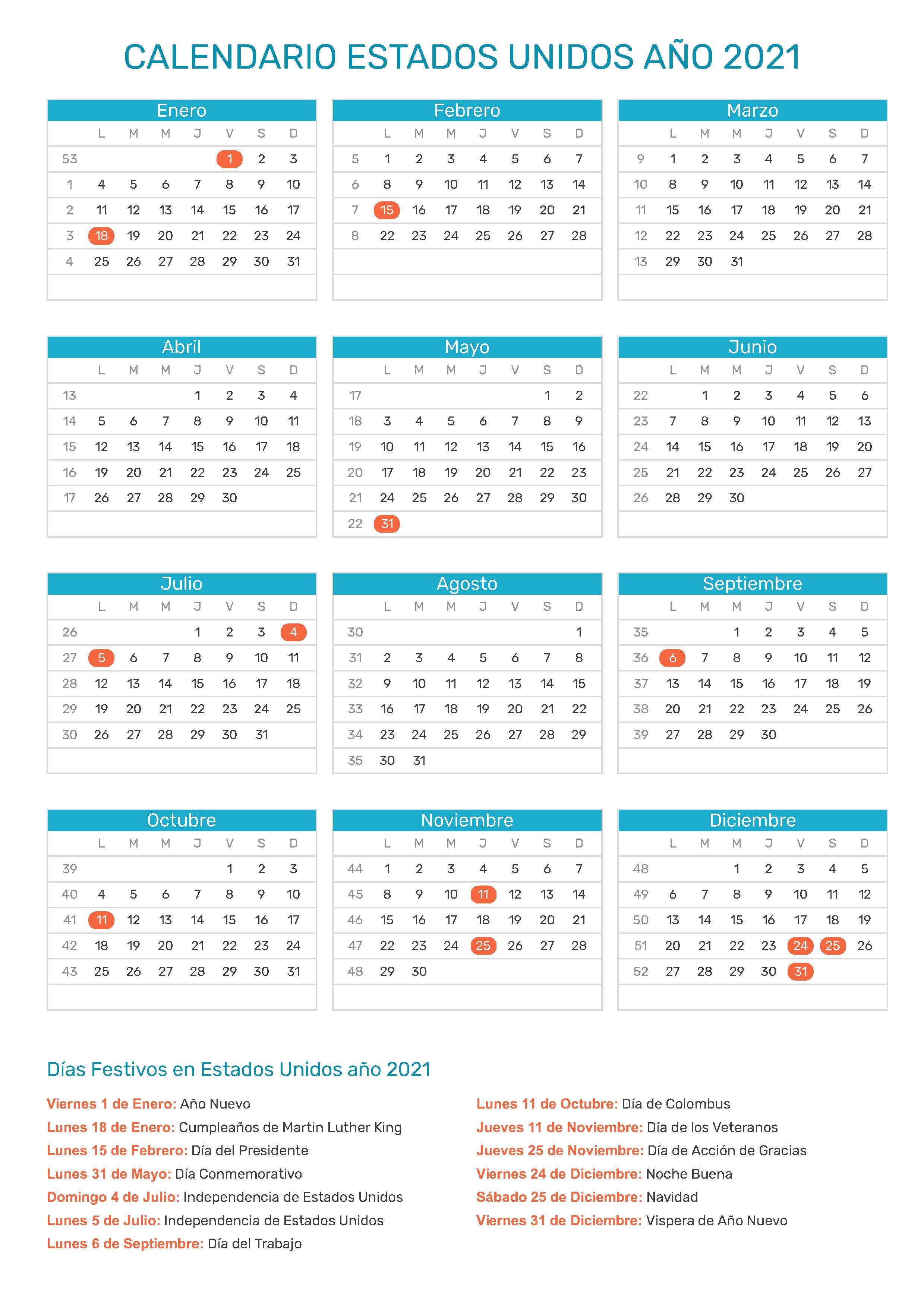 Calendario Estados Unidos Ano 2021 Dias Festivos