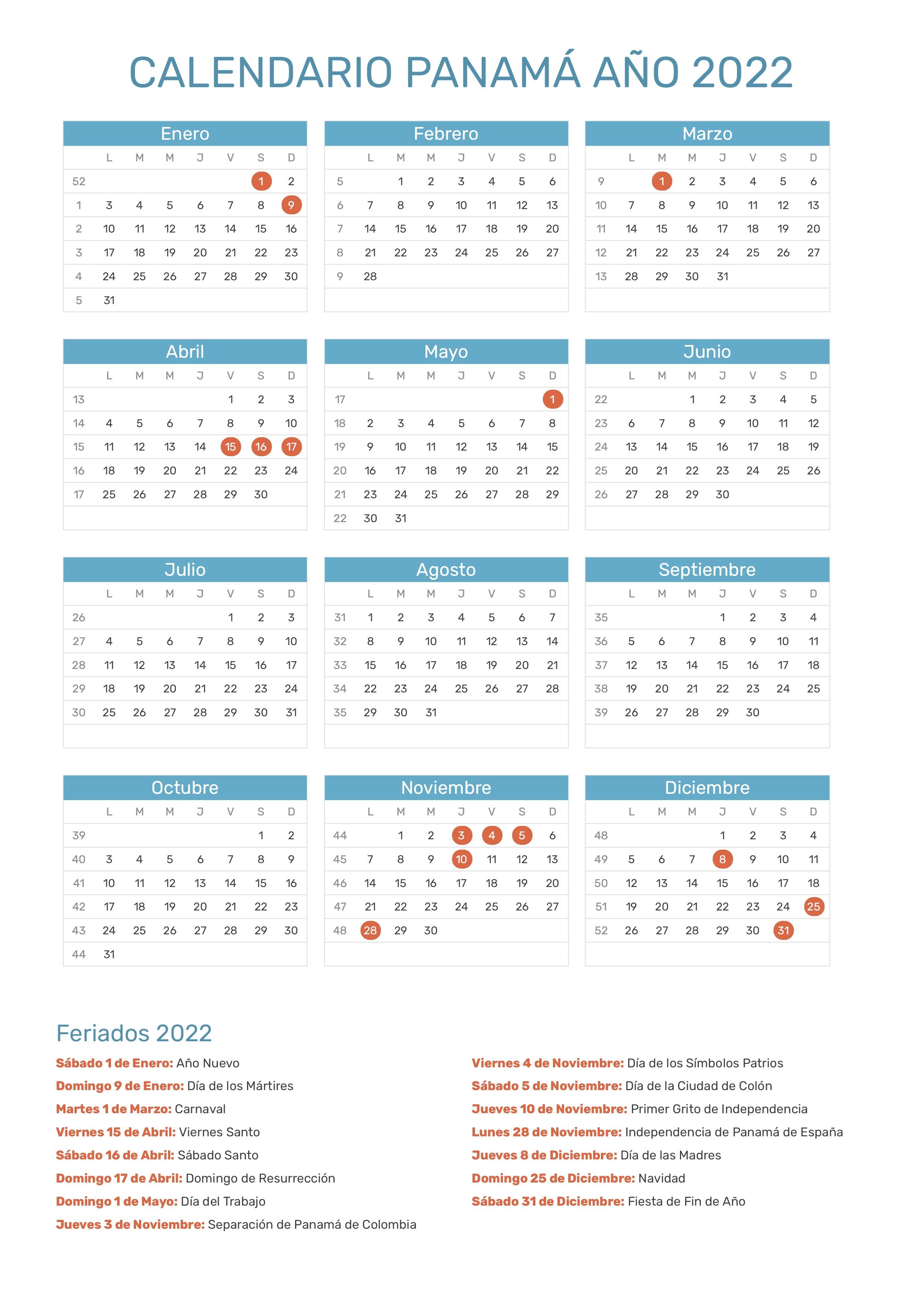 calendario de panam u00e1 a u00f1o 2022