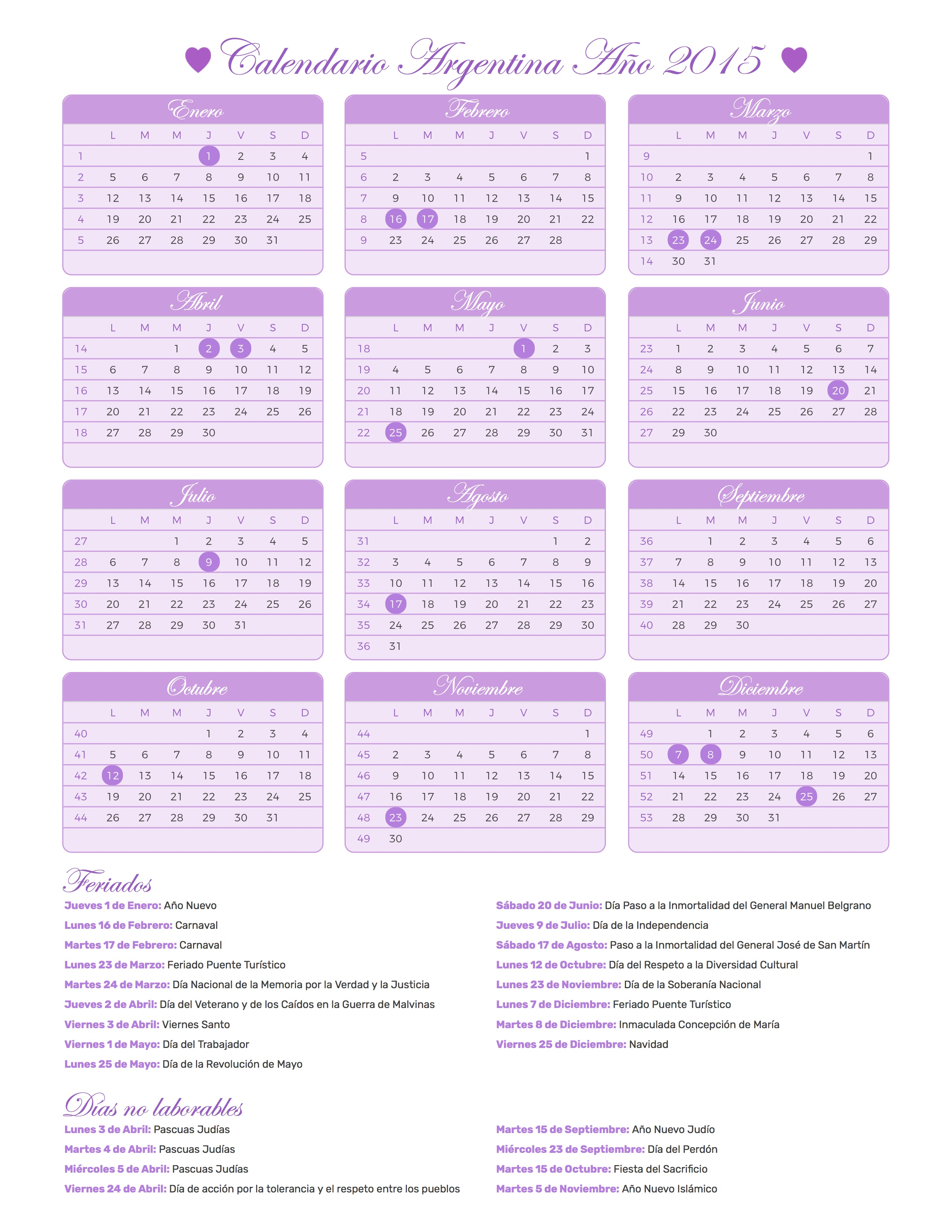 calendario argentina a u00f1o 2015