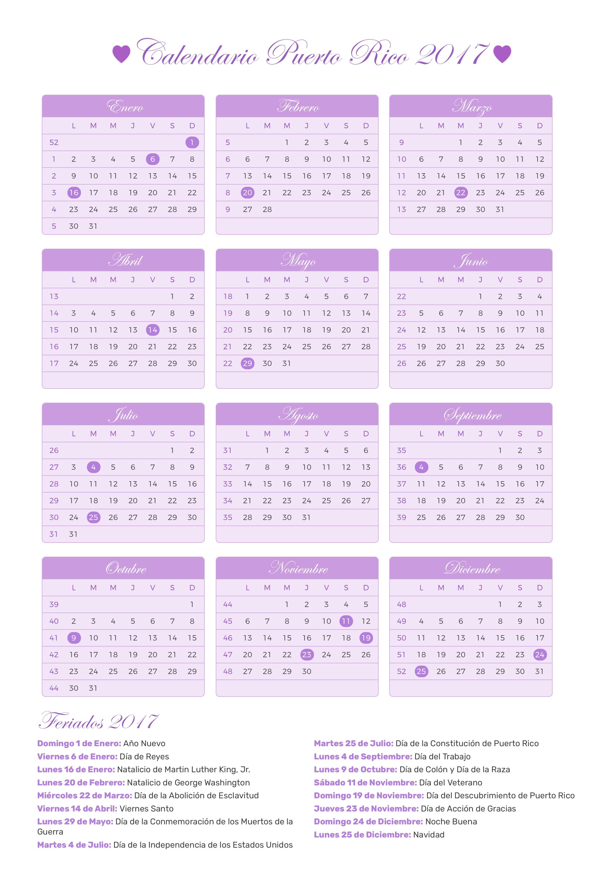 Calendario De Puerto Rico Año 2017 Feriados Días Festivos