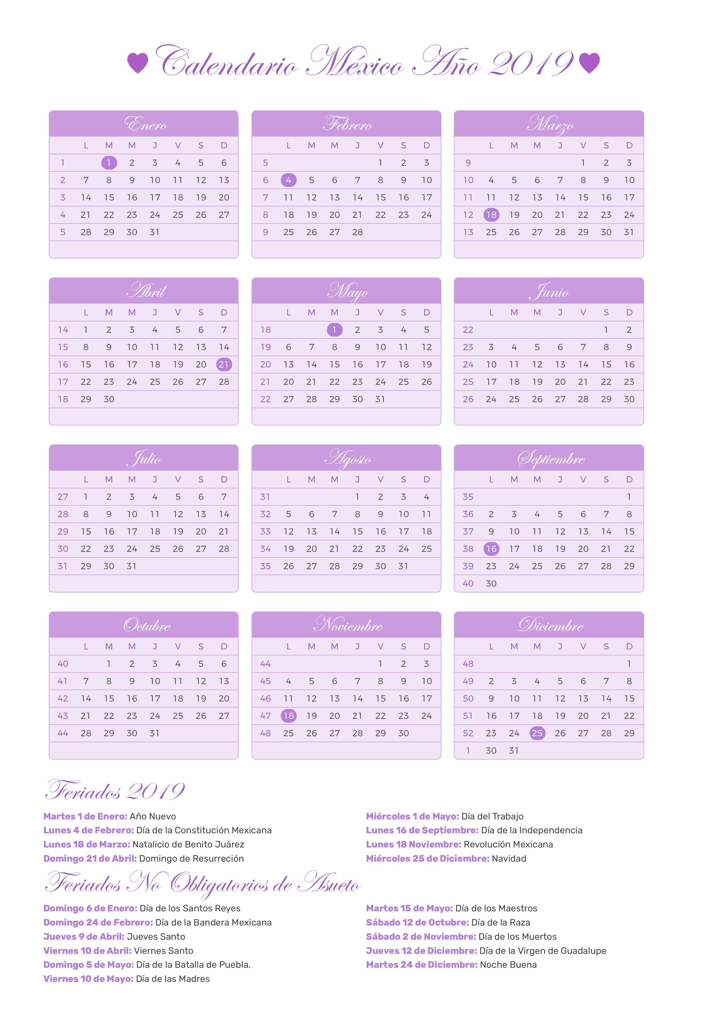 Calendario 2020 Argentina Para Imprimir Pdf.Calendario De Mexico Ano 2019 Feriados