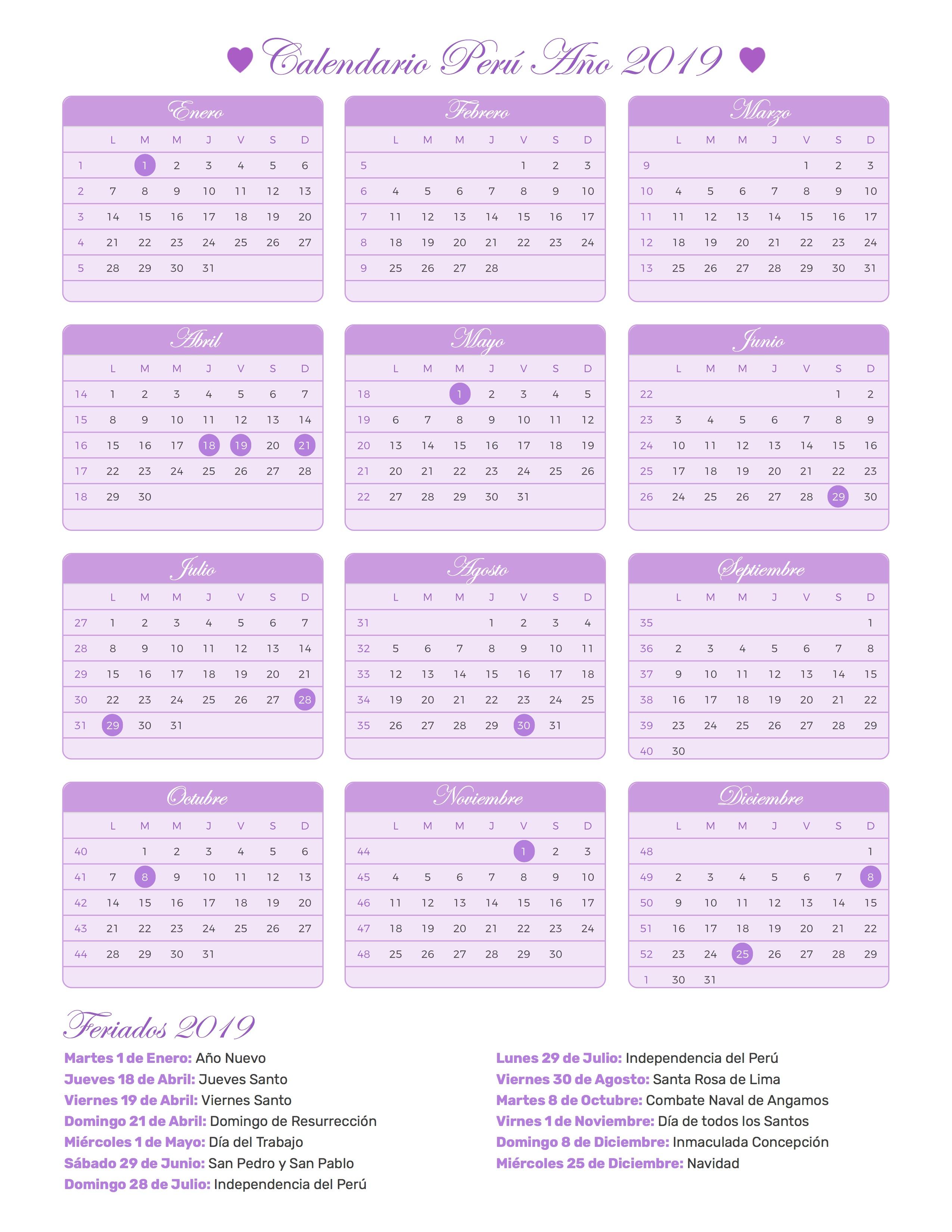 Calendario Agosto 2019 Peru.Calendario De Peru Ano 2019 Feriados