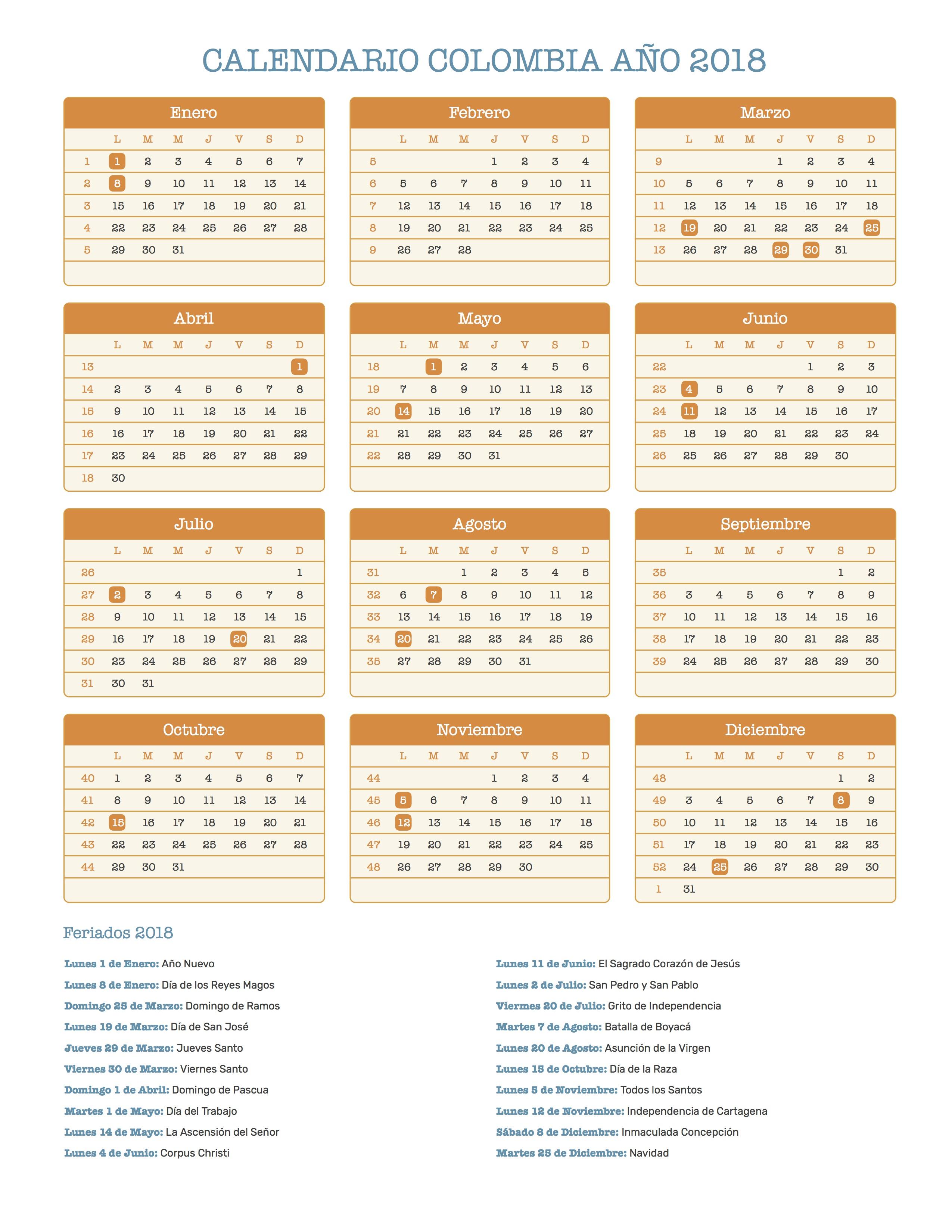 Calendario Colombia 2019 Para Imprimir.Calendario De Colombia Ano 2018 Feriados