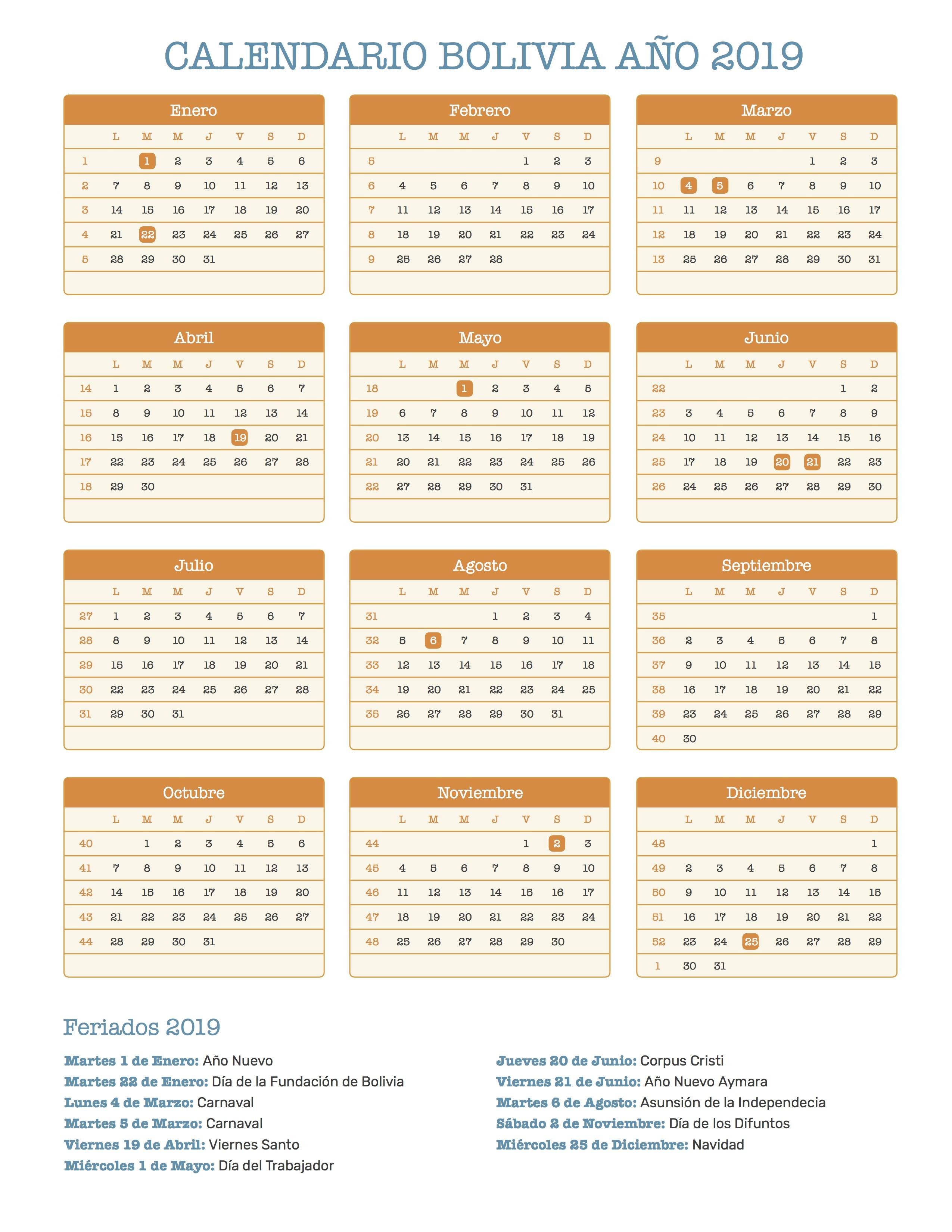 Calendario 20019 Con Festivos.Calendario De Bolivia Ano 2019 Feriados