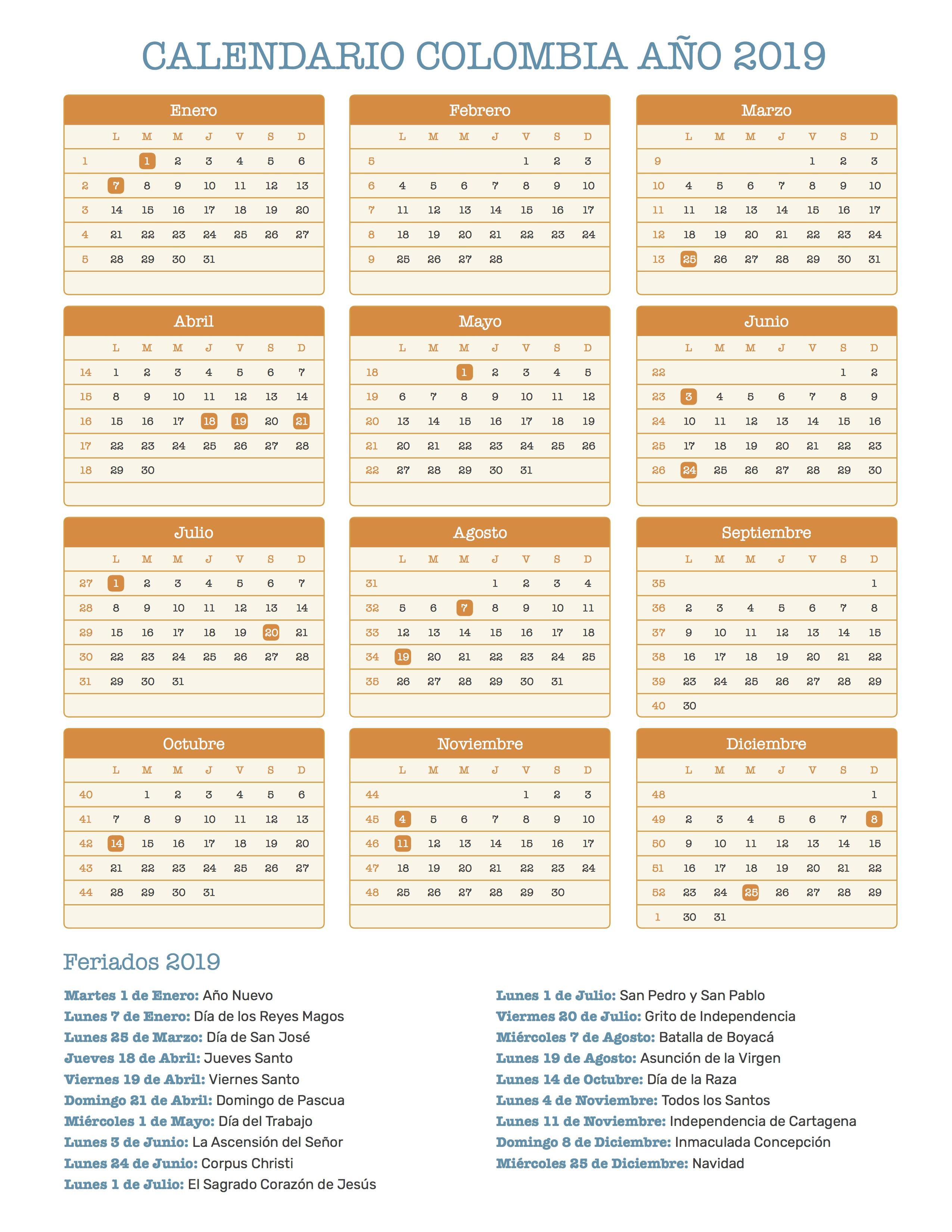 Calendario 2019 Con Festivos Colombia