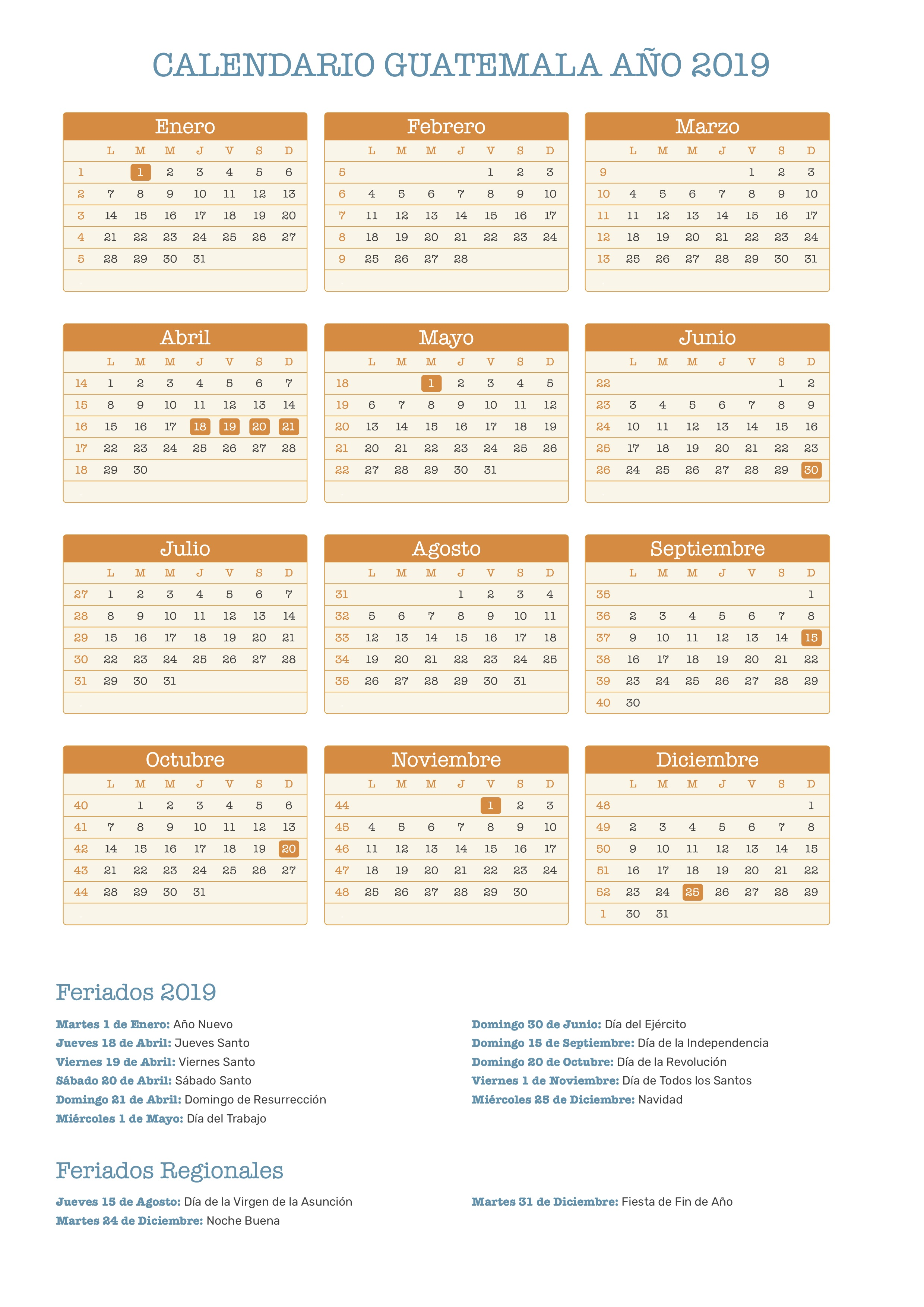 Calendario 2019 Para Colorear.Calendario De Guatemala Ano 2019 Feriados