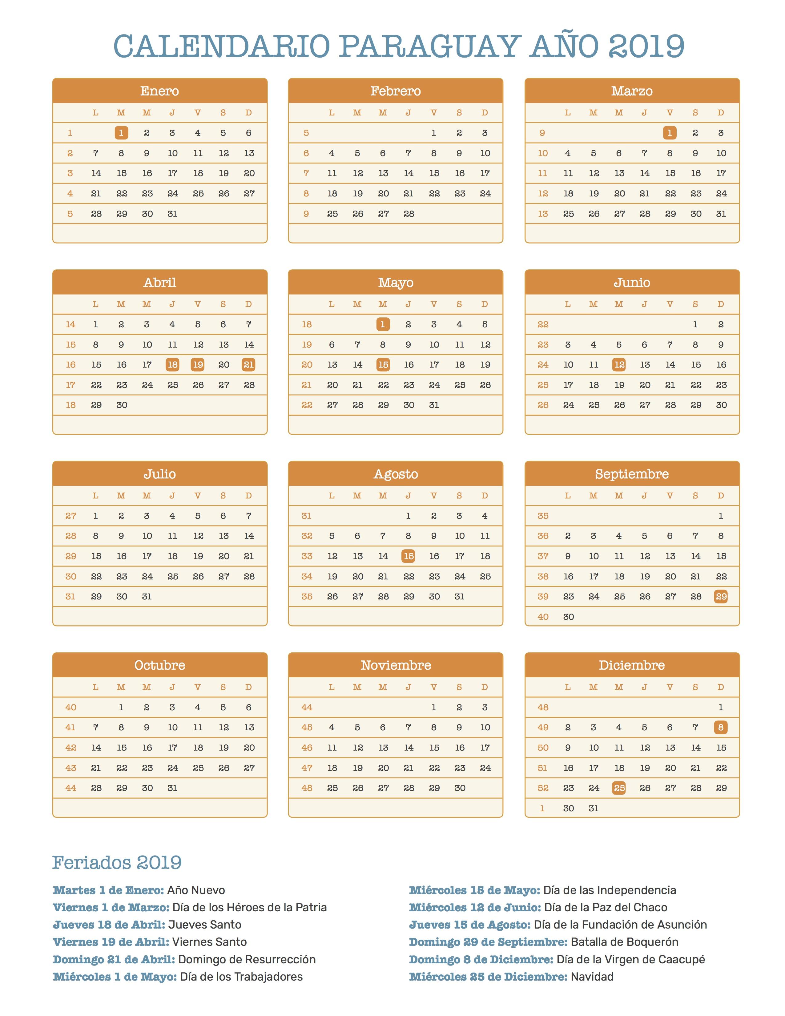 Calendarios 2015 A 2019
