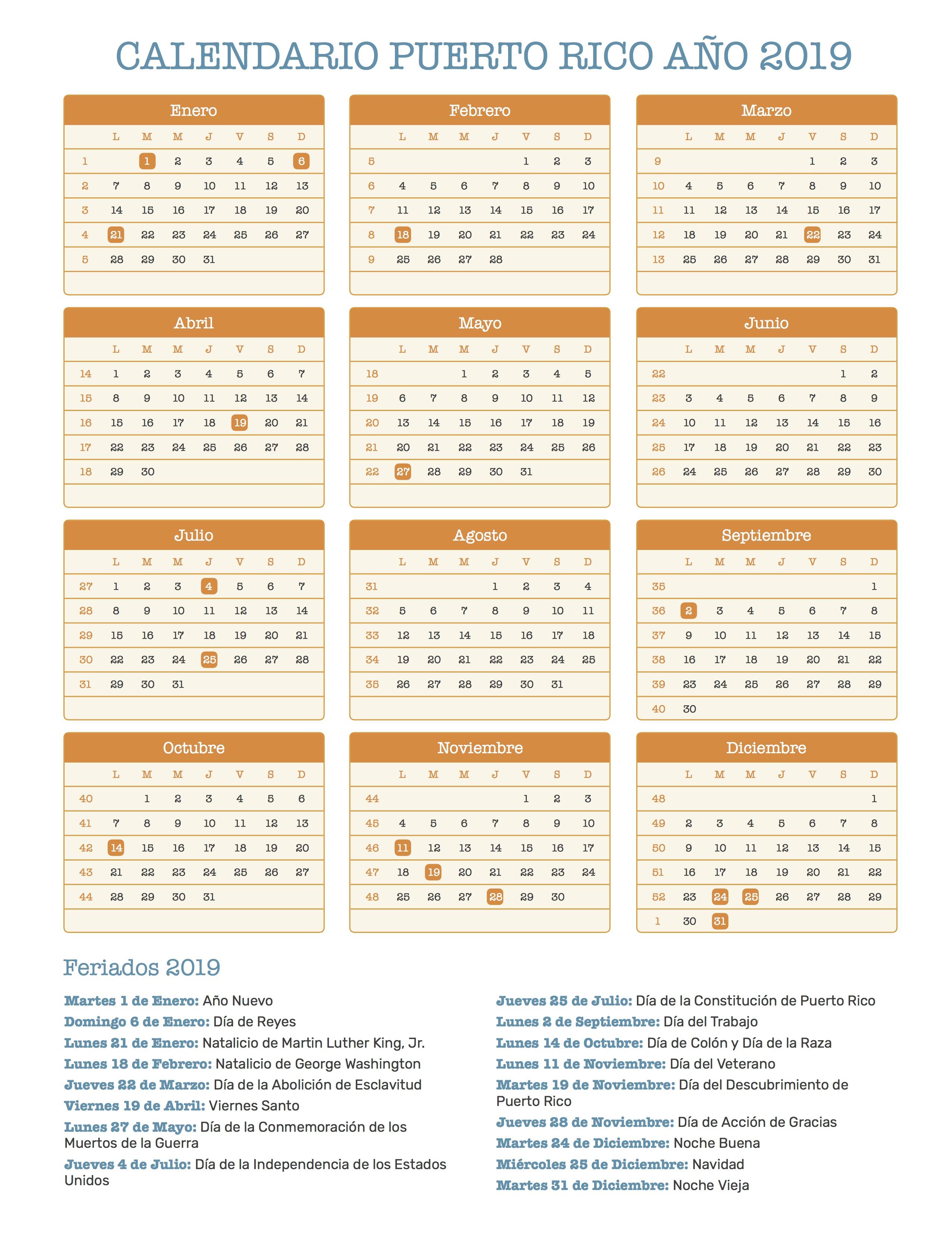 Calendario Julio 20019.Calendario De Puerto Rico Ano 2019 Feriados